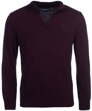 Men's Barbour Cotton Half Zip Sweater - Merlot