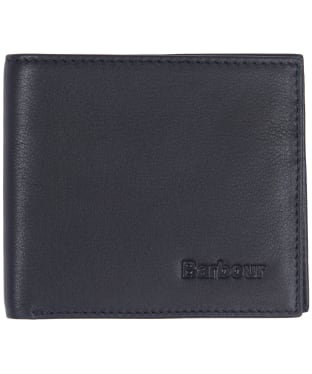 Men's Barbour Leather Billfold Wallet - Black / Merlot / Shadow