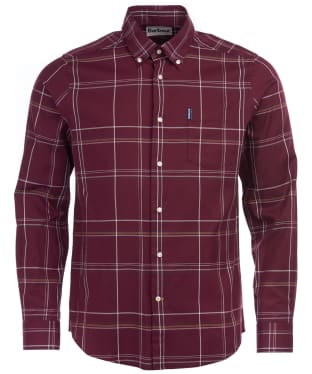 Men's Barbour Highland Check 24 Tailored Shirt - Merlot Check