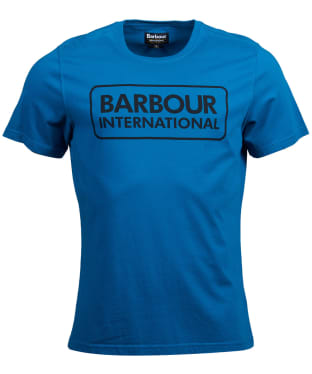 Men's Barbour International Essential Large Logo Tee - AQUA/BLACK