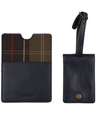 Women's Barbour Leather Passport Cover and Luggage Tag - Navy / Classic