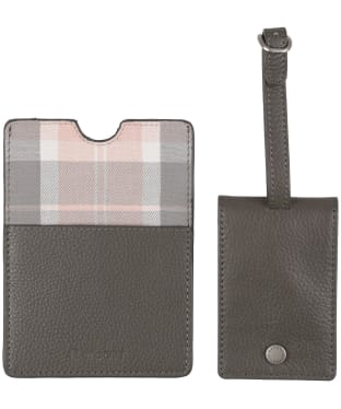 Women's Barbour Leather Passport Cover and Luggage Tag