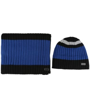 Men's Barbour International Knitted Hat and Scarf Gift Set - Black / Blue