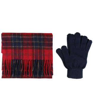 Men's Barbour Scarf and Glove Gift Box - Red Tartan