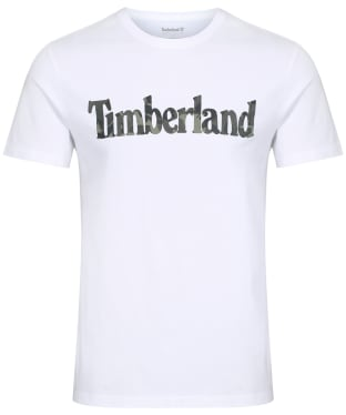 Men's Timberland SS Kennebec River Pattern Linear Logo Tee - White
