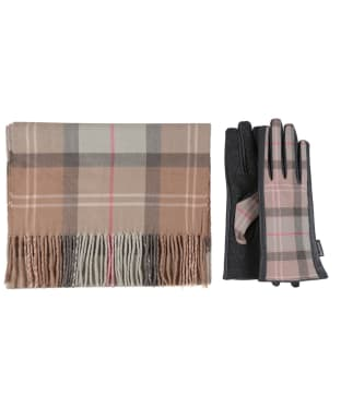 Women's Barbour Tartan Scarf and Leather Mix Gloves Set - Taupe / Pink