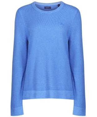Women's GANT Cotton Pique Crew Sweater - Ocean Blue Mel