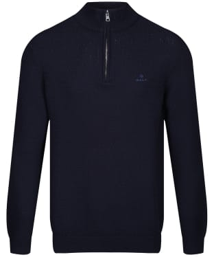 Men's GANT Honeycomb Half Zip Sweater - Evening Blue