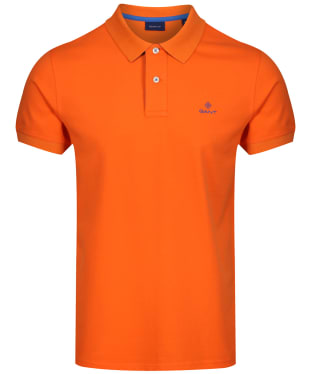 Men's GANT Contrast Collar Short Sleeve Rugger Shirt - Sunny Orange