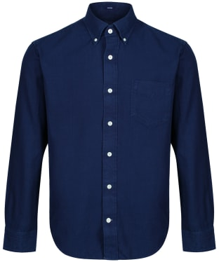 Men's GANT Hugger Fit Solid Indigo Shirt - Dark Indigo