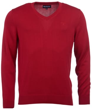 Men's Barbour Pima Cotton V-Neck Sweater - Chilli Red