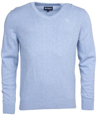 Men's Barbour Pima Cotton V-Neck Sweater - Pale Blue Marl