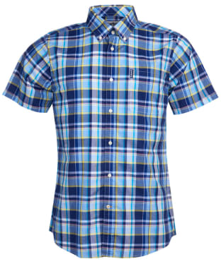 Men's Barbour Madras 8 S/S Tailored Shirt - Sky Blue Check