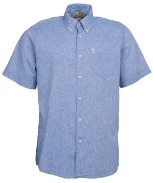 Men's Barbour Linen Mix 1 S/S Regular Shirt - Blue