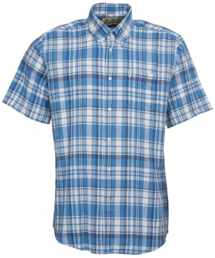 Men's Barbour Linen Mix 2 S/S Regular Shirt - Blue Check