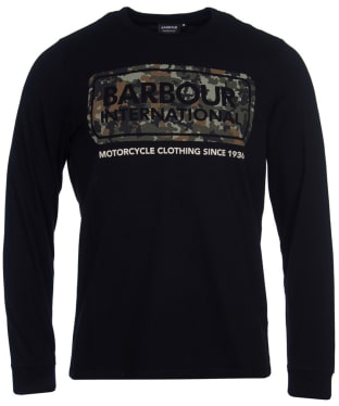 Men's Barbour International Camo Logo L/S Tee - Black