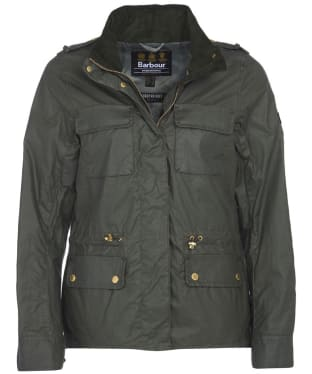 Women's Barbour International Baton Wax Jacket - Light Forest