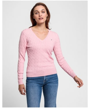 Women's Gant Stretch Cotton Cable V-Neck