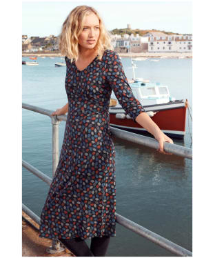 Women's Seasalt Golden Hour Dress - Spotty Leaves Dark Night