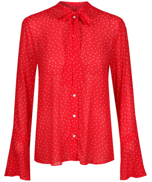 Women's GANT French Dot Chiffon Bow Blouse - Bright Red