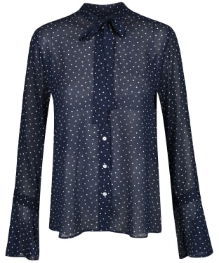 Women's GANT French Dot Chiffon Bow Blouse - Evening Blue