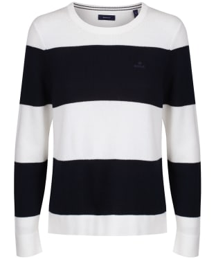 Women's GANT Cotton Pique Block Stripe Sweater - Evening Blue