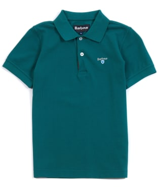 Boy's Barbour Tartan Pique Polo Shirt, 6-9yrs - Rich Green