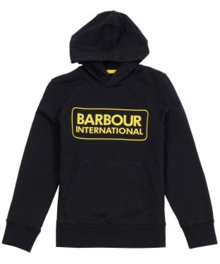 Boy's Barbour International Large Logo Hoodie, 6-9yrs - Black