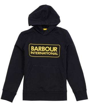 Boy's Barbour International Large Logo Hoodie, 10-15yrs - Black