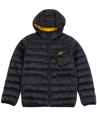 Boy's Barbour International Ouston Hooded Quilted Jacket, 10-15yrs - Black / Yellow