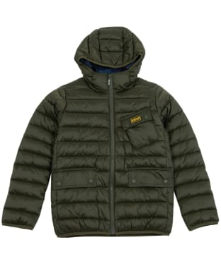 Boy's Barbour International Ouston Hooded Quilted Jacket, 10-15yrs - Sage / Navy