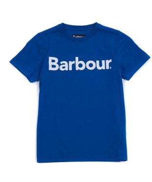 Boy's Barbour Logo Tee, 10-15yrs - True Blue
