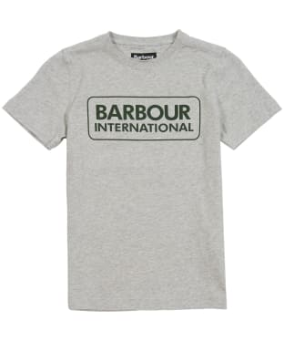 Boy's Barbour International Essential Large Logo Tee, 6-9yrs - Grey Marl