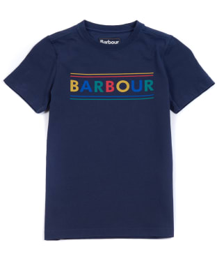 Boy's Barbour Multi Logo Tee, 6-9yrs - Navy