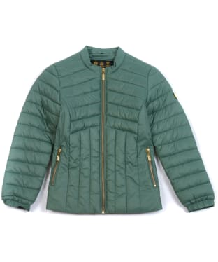 Girls Barbour International Keeper Quilted Jacket, 6-9yrs - Tussock Green