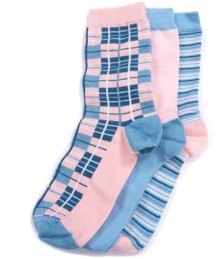 Women's Barbour Tartan Gift Box Socks - Blue / Beige
