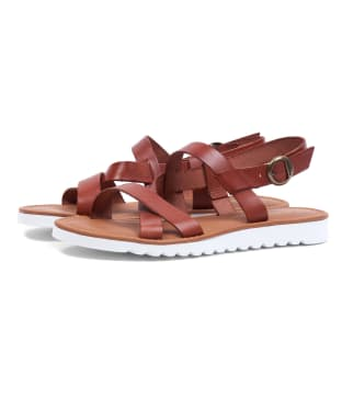 Women's Barbour Sandside Leather Sandals - Dark Tan