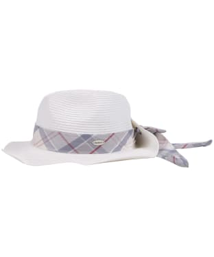 Women's Barbour Lorne Tartan Trimmed Fedora Hat - Cloud / Platinum Tartan