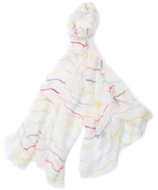 Women's Barbour Squiggle Stripe Wrap - White Multi Stripe
