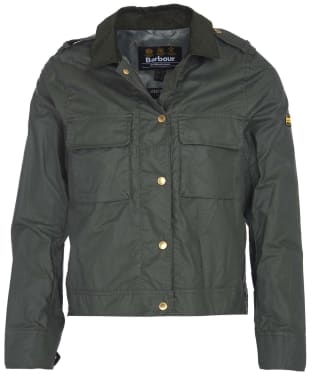 Women's Barbour International Ballpark Wax Jacket - Light Forest