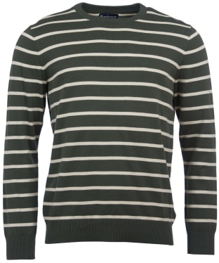 Men's Barbour Bight Stripe Crew Neck Sweater - Dusty Olive