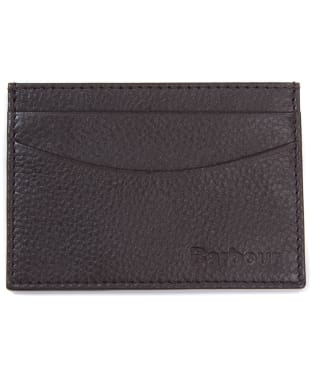 Men's Barbour Amble Leather Card Holder - Dark Brown