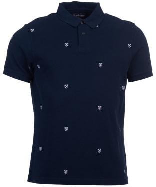 Men's Barbour Saltire All Over Emblem Polo Shirt - Navy