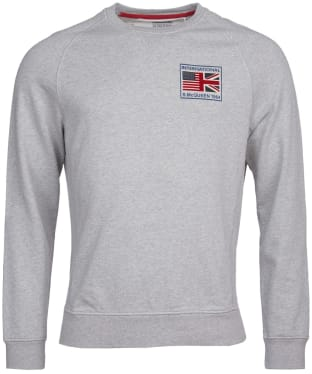 Men's Barbour International Steve McQueen Team Flags Sweater - Grey Marl