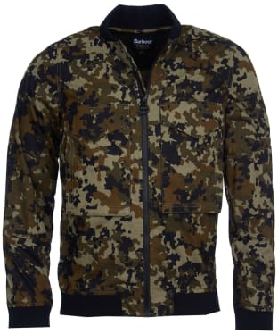 Men's Barbour International Hex Camo Zip Thru Jacket - Jungle Green