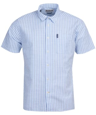 Men's Barbour Seersucker 8 S/S Summer Shirt - Blue Stripe
