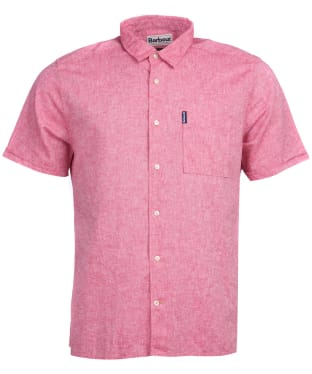 Men's Barbour Linen Mix 1 S/S Summer Shirt - Red