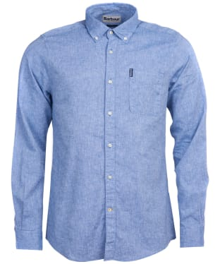 Men's Barbour Linen Mix 1 Tailored Shirt - Blue