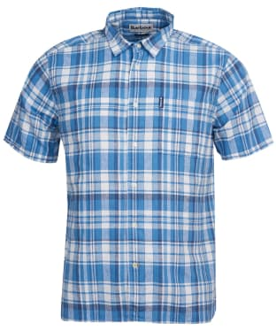 Men's Barbour Linen Mix 2 S/S Summer Shirt - Blue