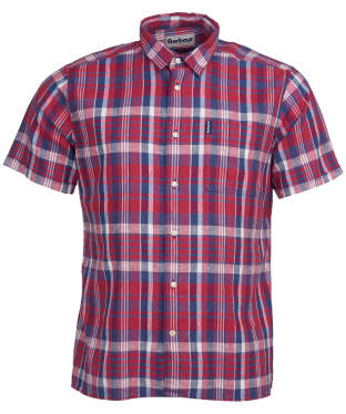 Men's Barbour Linen Mix 2 S/S Summer Shirt - Red